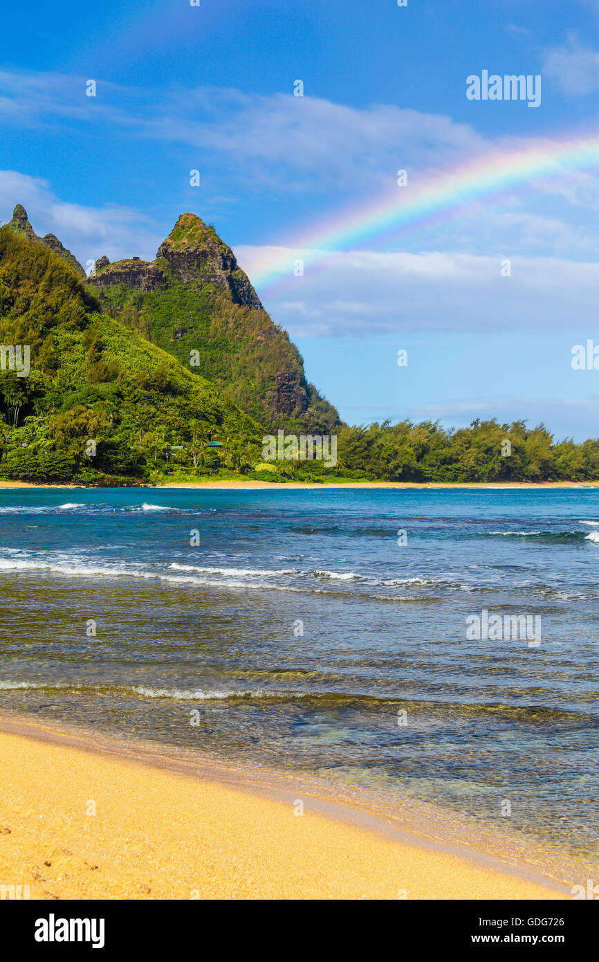 Rainbows at Mt. Makana, called Bali Hai, on Kauai - Stock Image