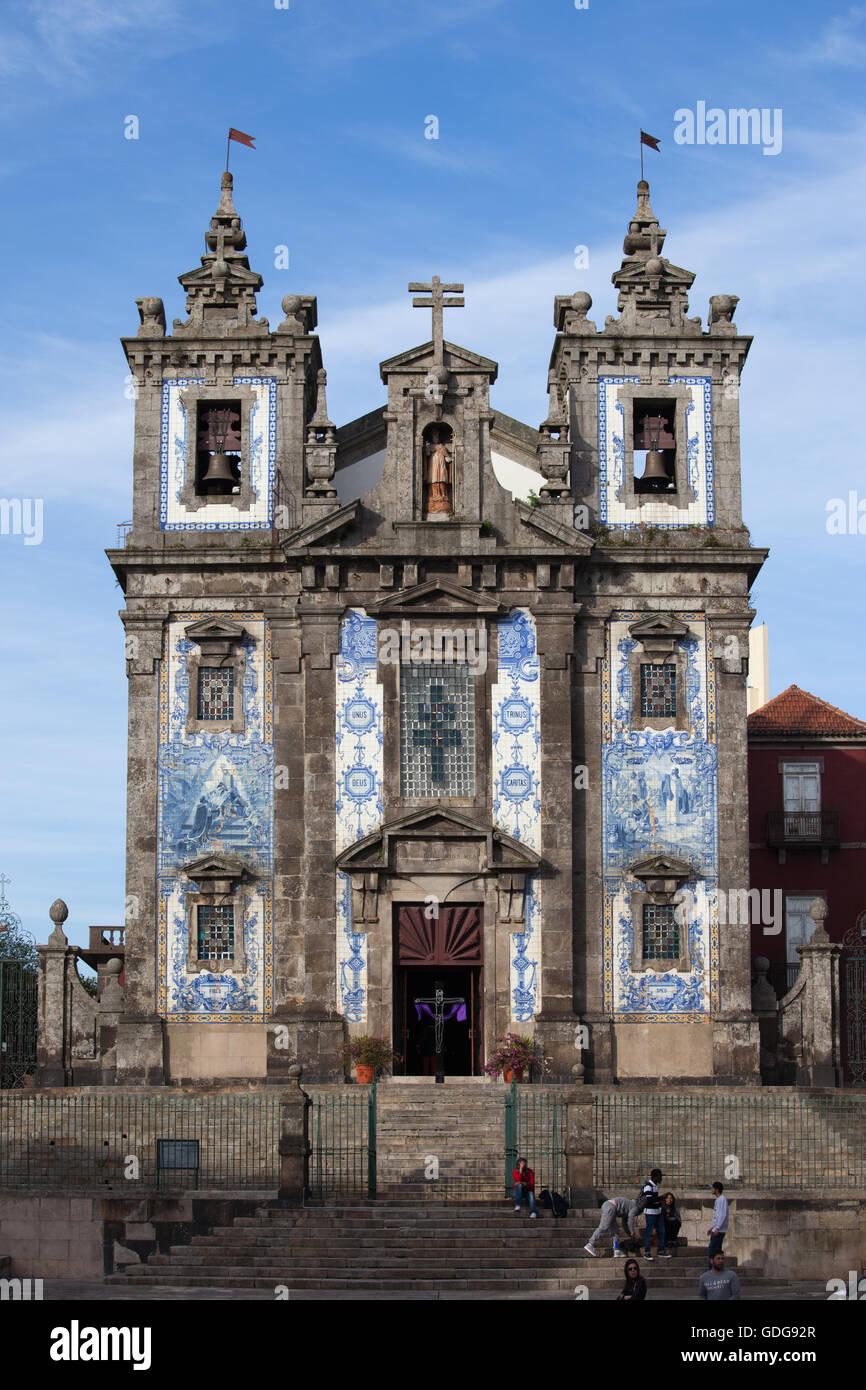 Church of Saint Ildefonso (Igreja de Santo Ildefonso) in Porto, Oporto, Portugal, Baroque style 18th century architecture. - Stock Image