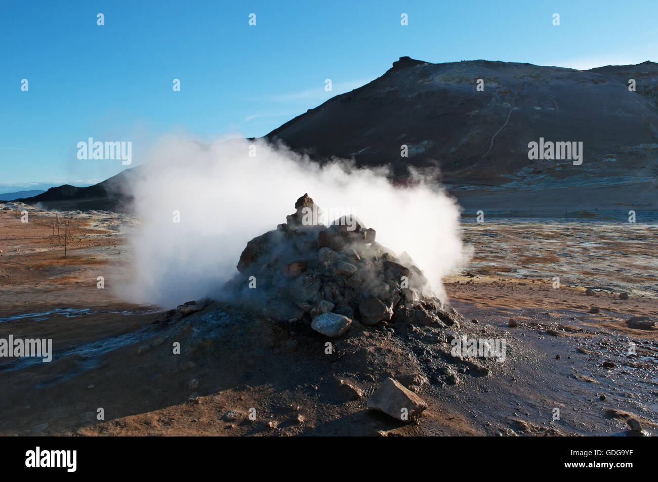 Iceland: Hverir, a geothermal area in the Myvatn region, famous for its fumaroles, hot springs and sulfur - Stock Image