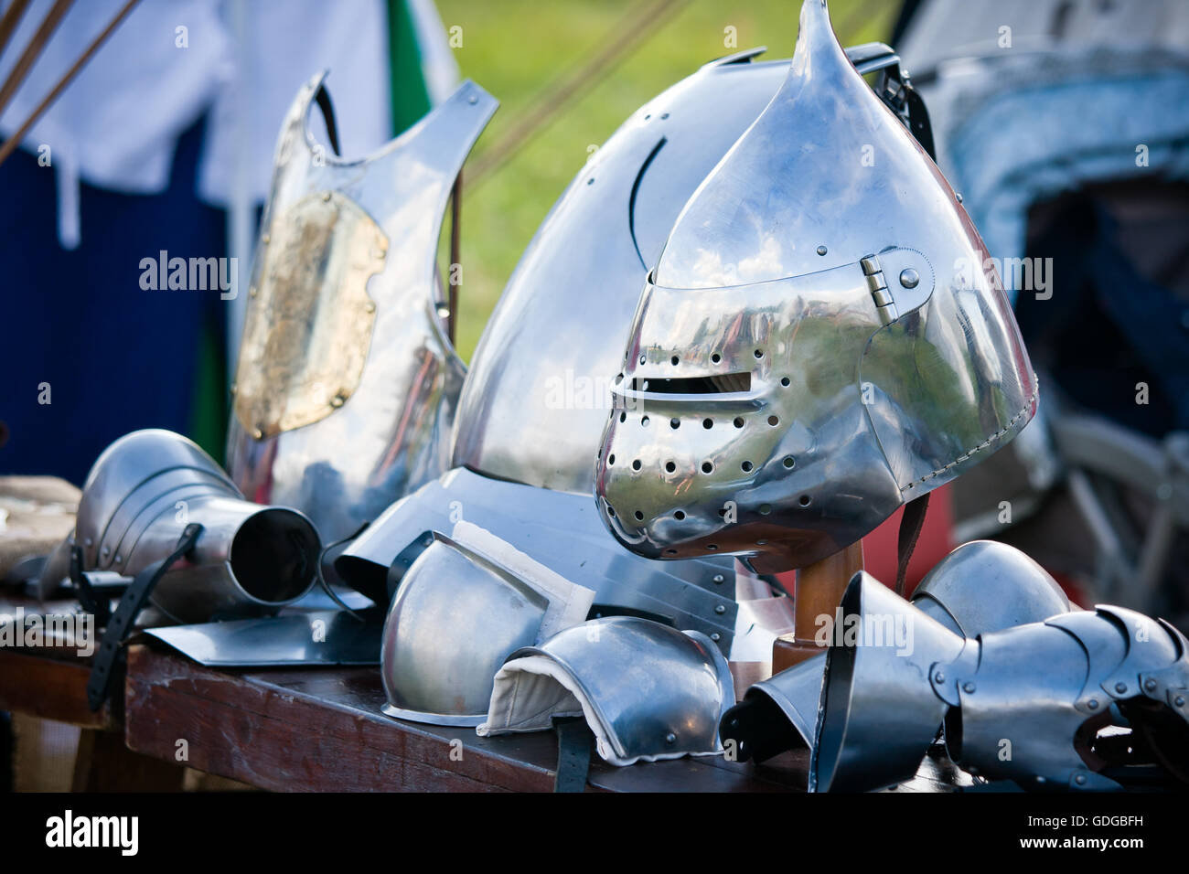 Medieval armor, helmets and gloves Stock Photo