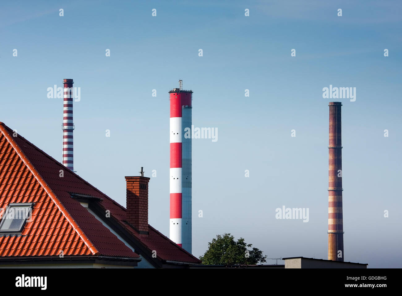 Air pollution, chimneys of a power plant - Stock Image