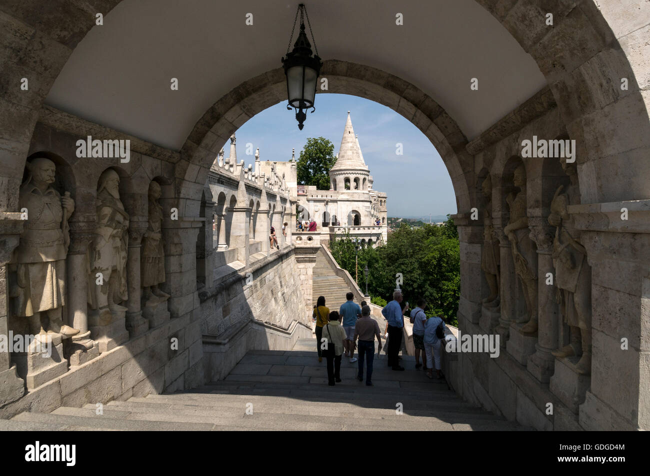 A flight of steps leading up to the Fisherman's Bastion. It  is a terrace in neo-Gothic and neo-Romanesque style - Stock Image