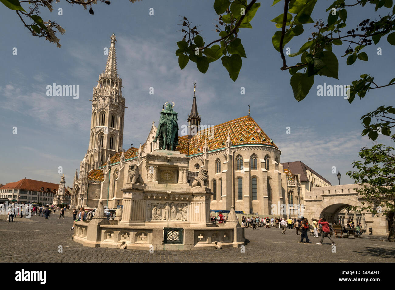 A statue of Saint Stephen, Grand Prince of the Hungarians and the first King of Hungary in the Fishermen's Bastion - Stock Image