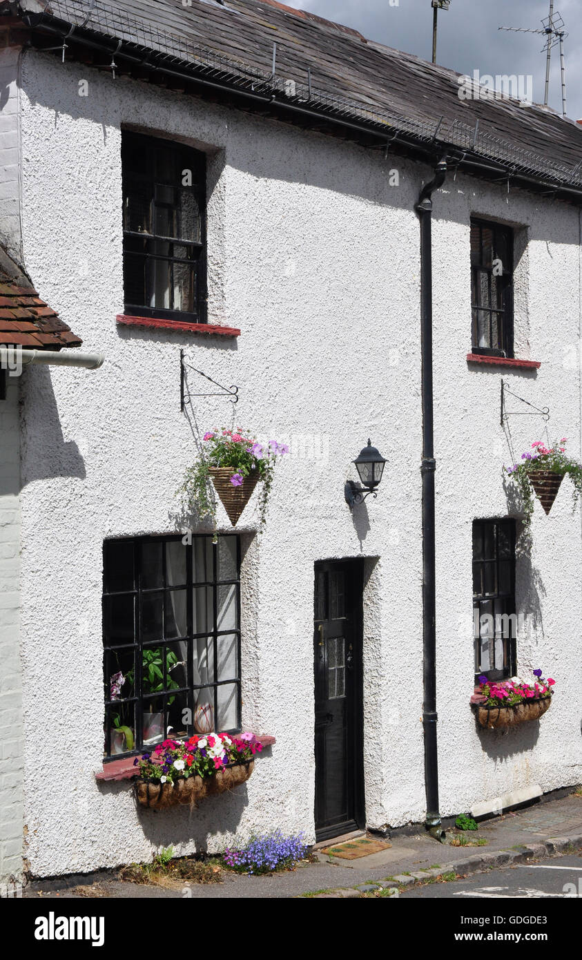 Period cottage facade - Georgian windows - whitewashed walls - colourful window boxes - Sonning on Thames sunlight - Stock Image