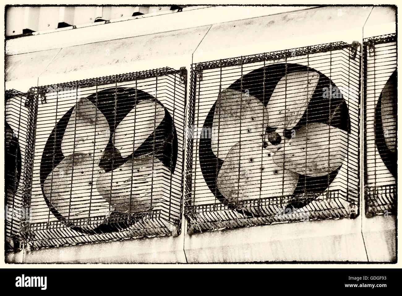Extractor Fans at the Derelict Torridge Vale Dairy, Torrington, Devon. - NIK Silver Effects Processed. - Stock Image