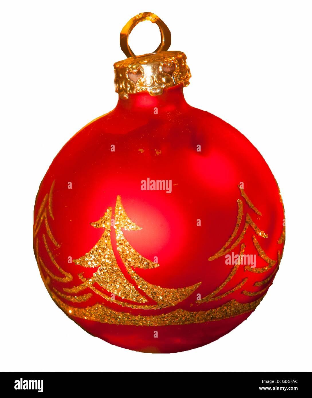 Beeswax candle and Christmas tree ball for Christmas tree decorations - Stock Image
