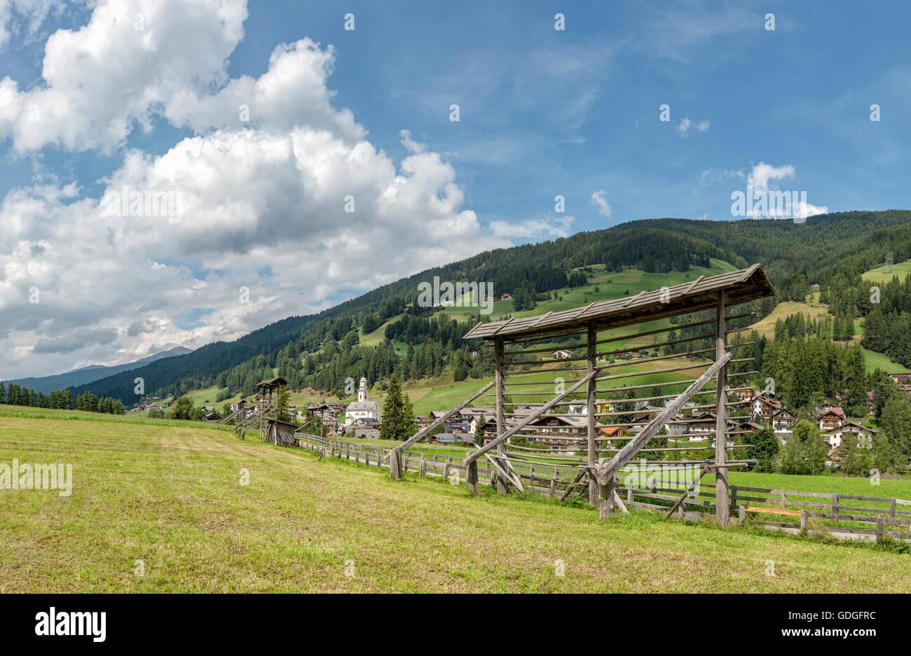 Sexten,Sesto,Italia,Drying racks for hay in the Sexten valley - Stock Image