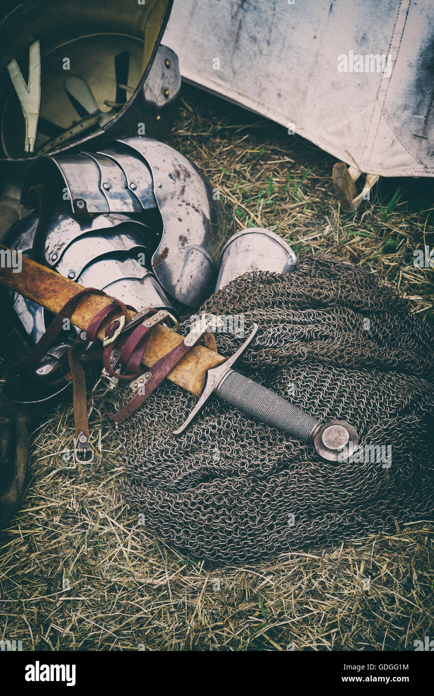 Medieval lancastrian knights sword, chain mail and armor at Tewkesbury medieval festival 2016, England. Vintage - Stock Image