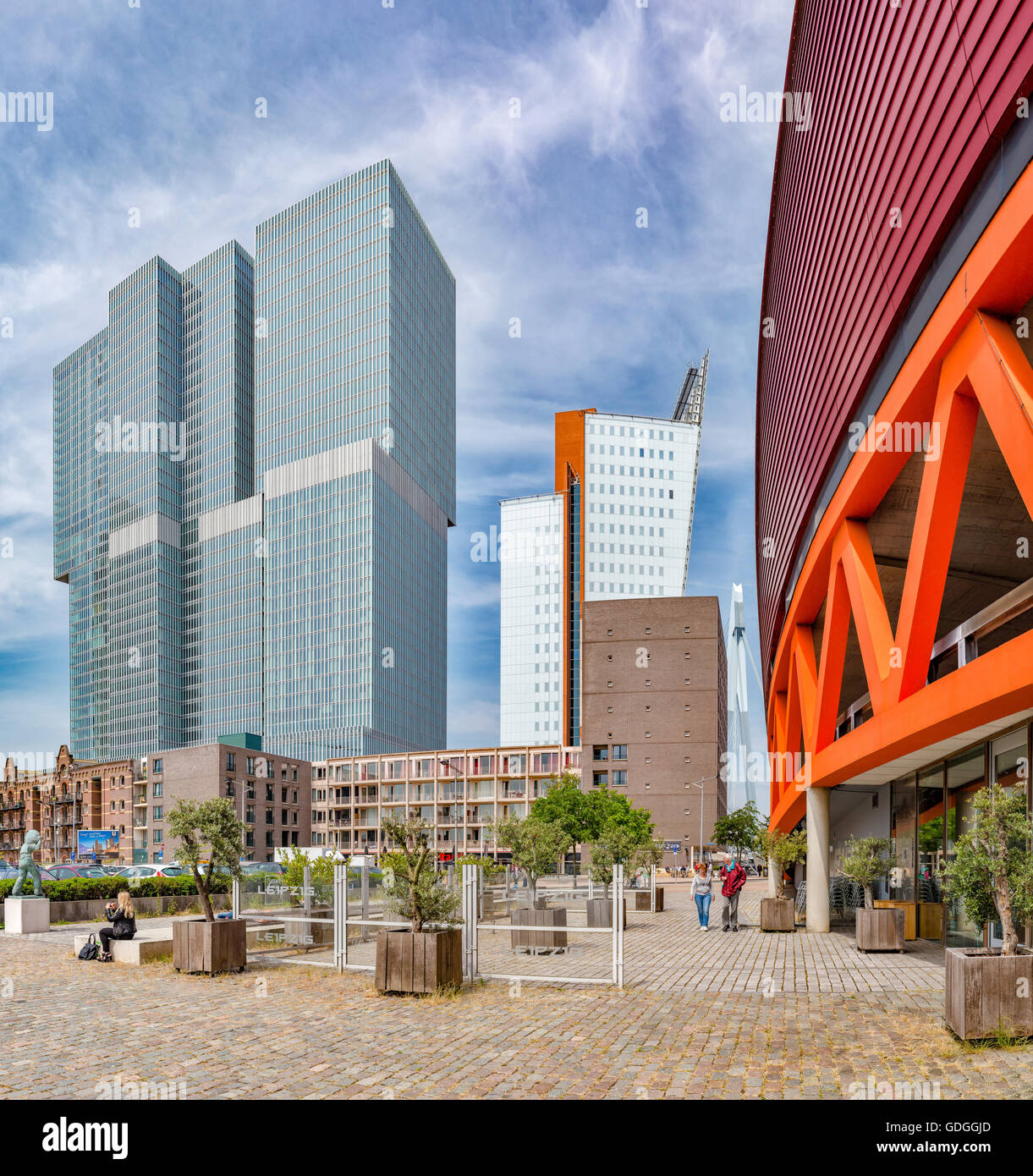 Rotterdam,Modern high-rise office buildings - Stock Image