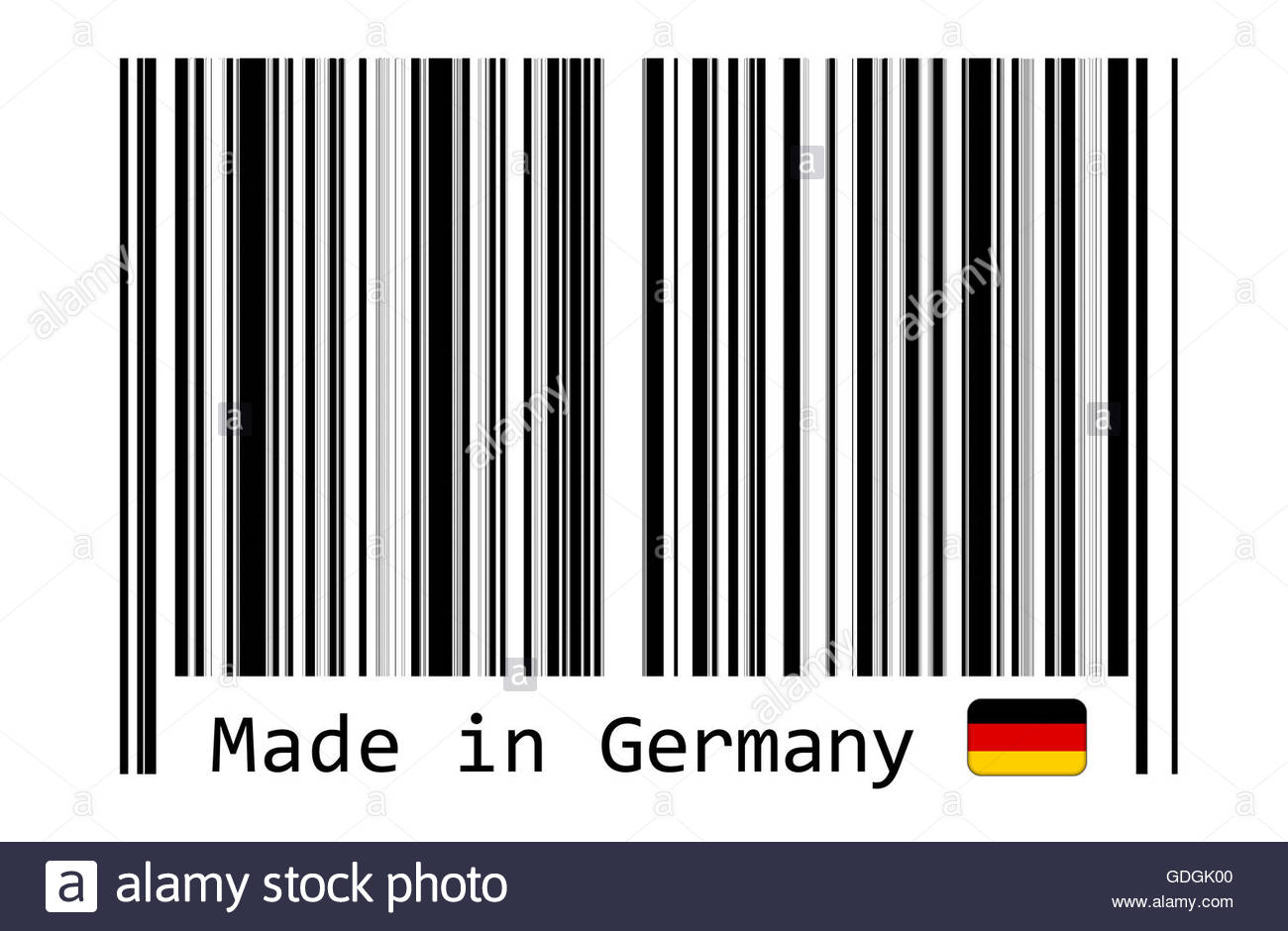 Made in Germany with barcode label - Stock Image