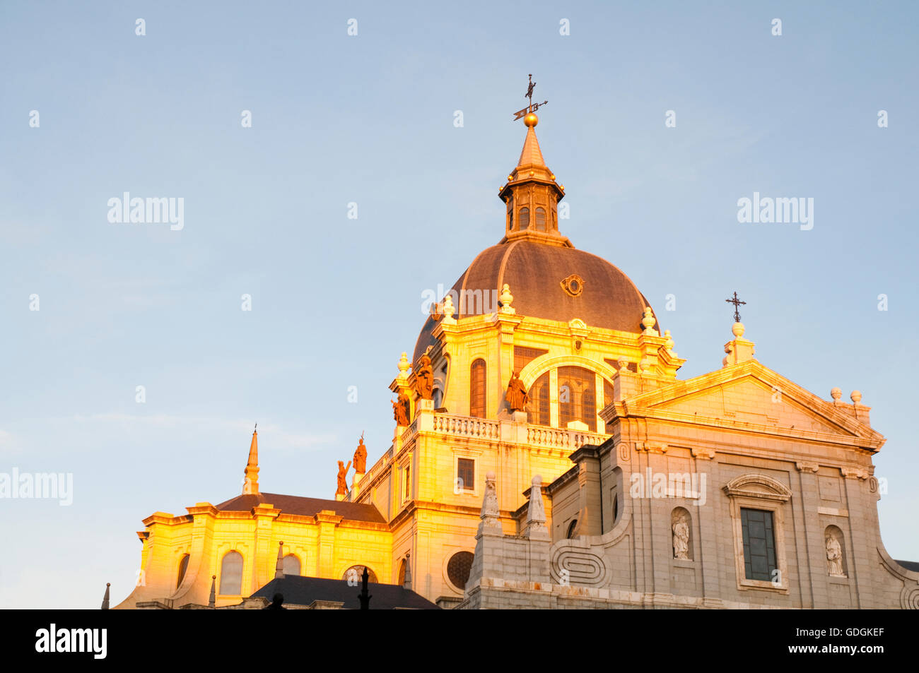 Cupola of The Almudena cathedral. Madrid, Spain. - Stock Image