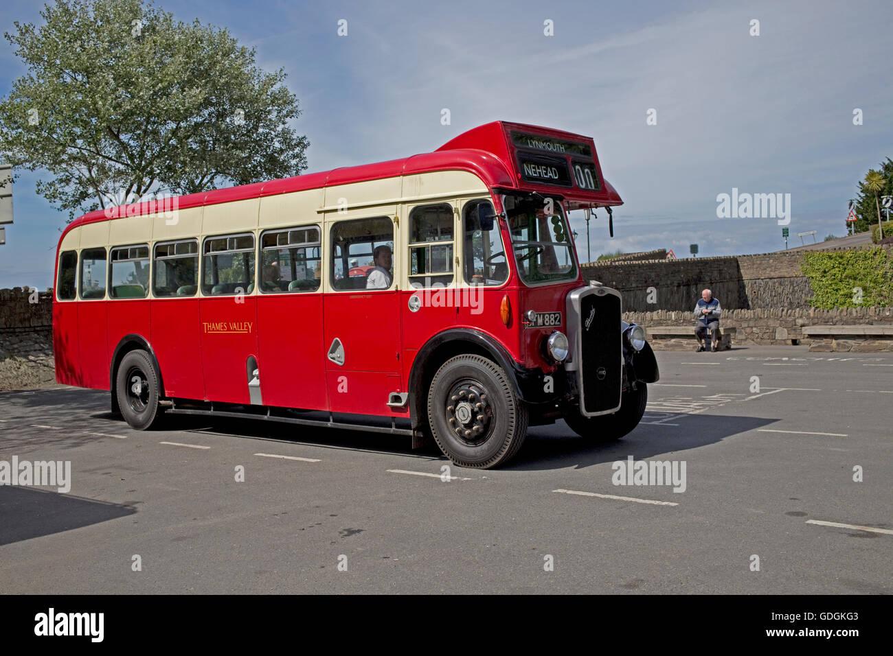 Red vintage Thames Valley Bristol bus S302 GFM 882 Lynmouth Devon UK