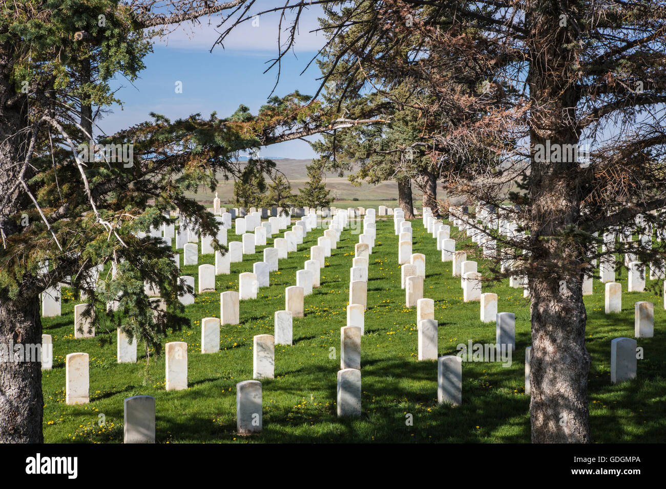 US Military cemetery at Little Bighorn Montana US - Stock Image
