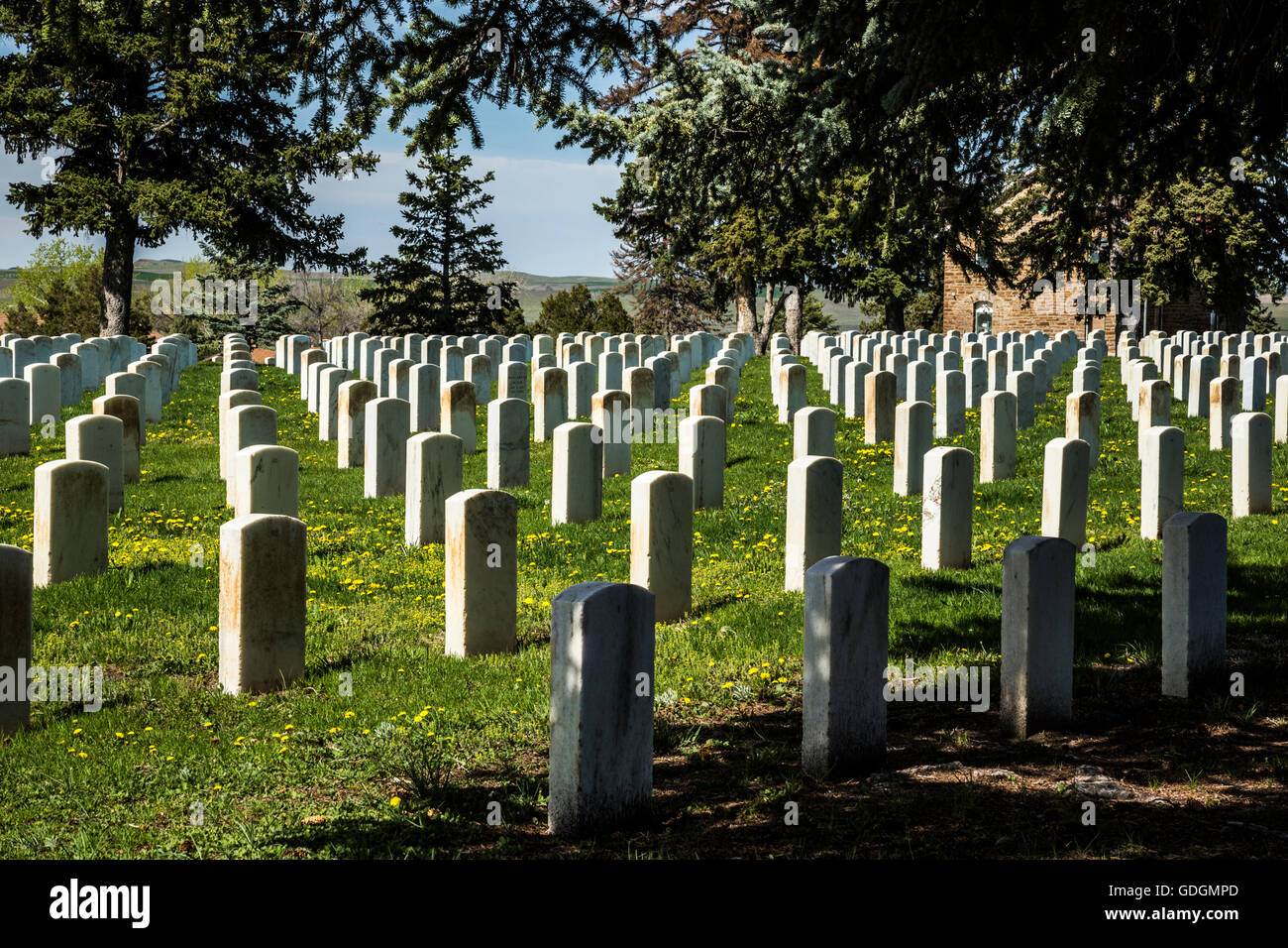 US Military cemetery at Little Bighorn Montana US Stock Photo