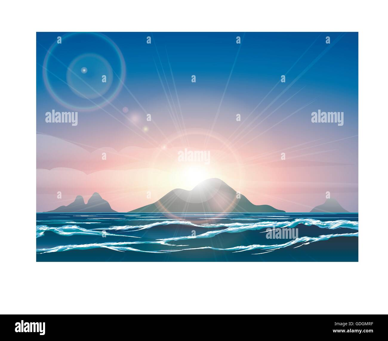 Horizontal background with sunrise over the ocean and tropical islands. - Stock Vector