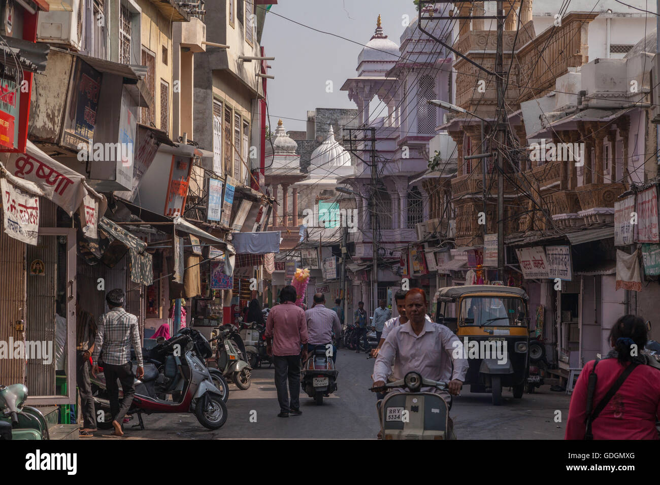 A congested, hectic street outside New Delhi, India - Stock Image
