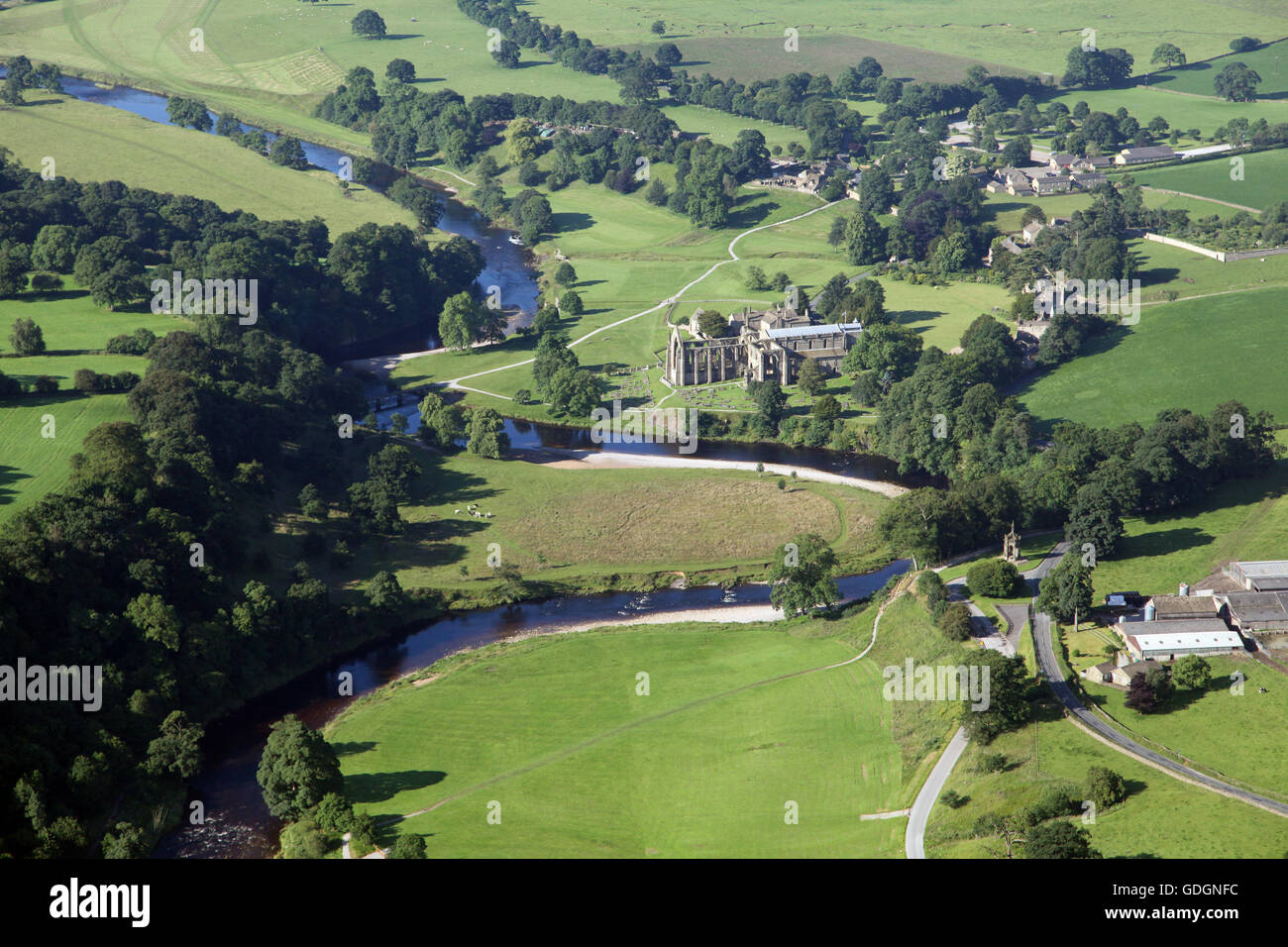 aerial view of Bolton Abbey in Wharfedale near Skipton, sometimes know as Bolton Priory, UK - Stock Image
