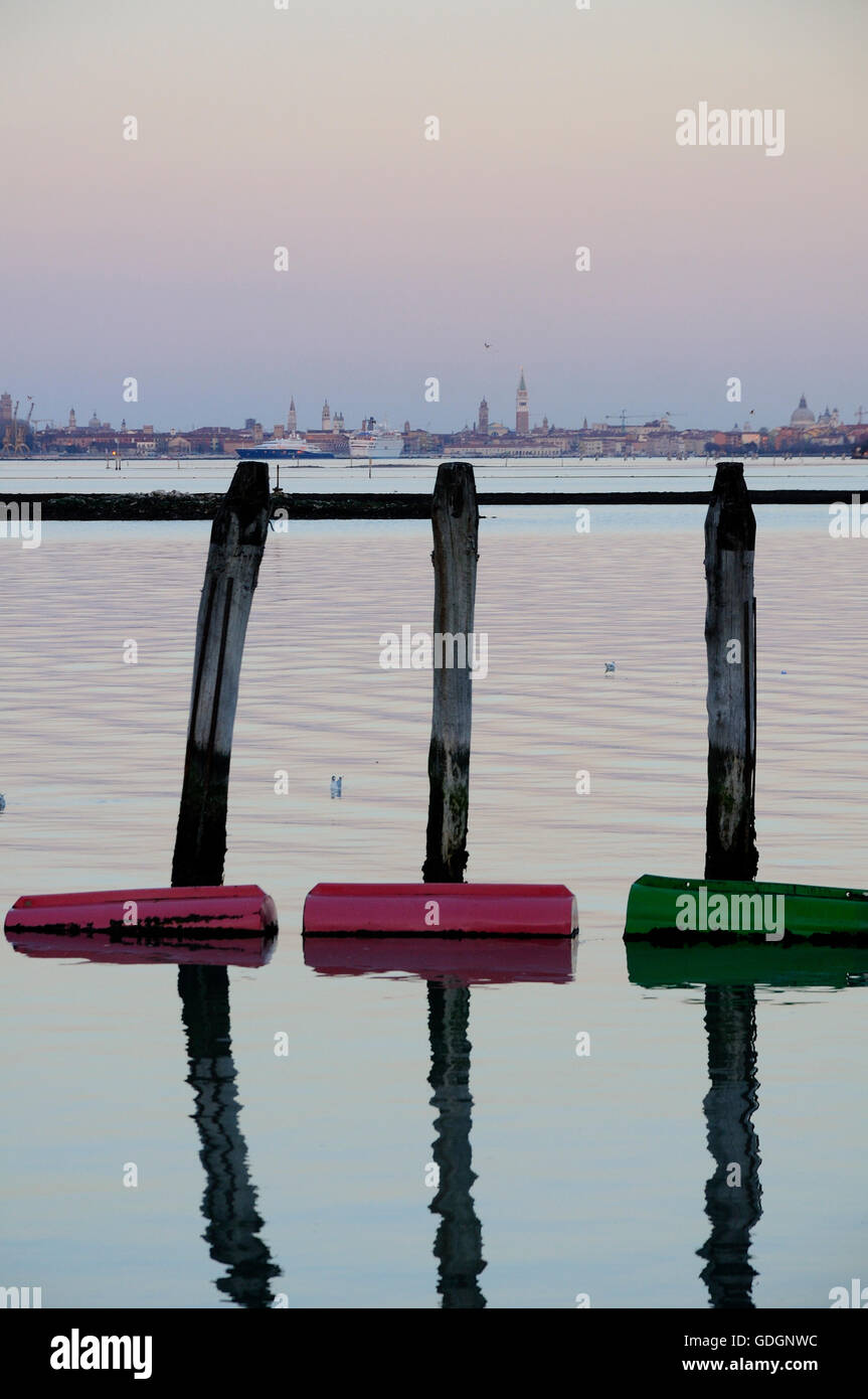View of Venice.at dusk seen from Fusina Stock Photo