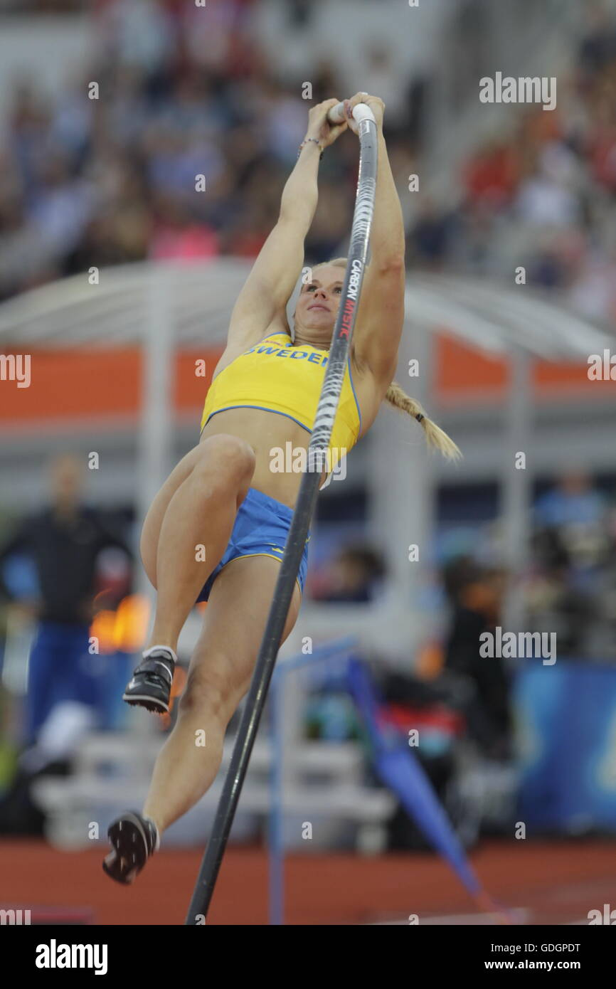 Amsterdam, Netherlands July 09, 2016 Michaela Meijer of the 5th pole vault at the Amsterdam europe championship - Stock Image