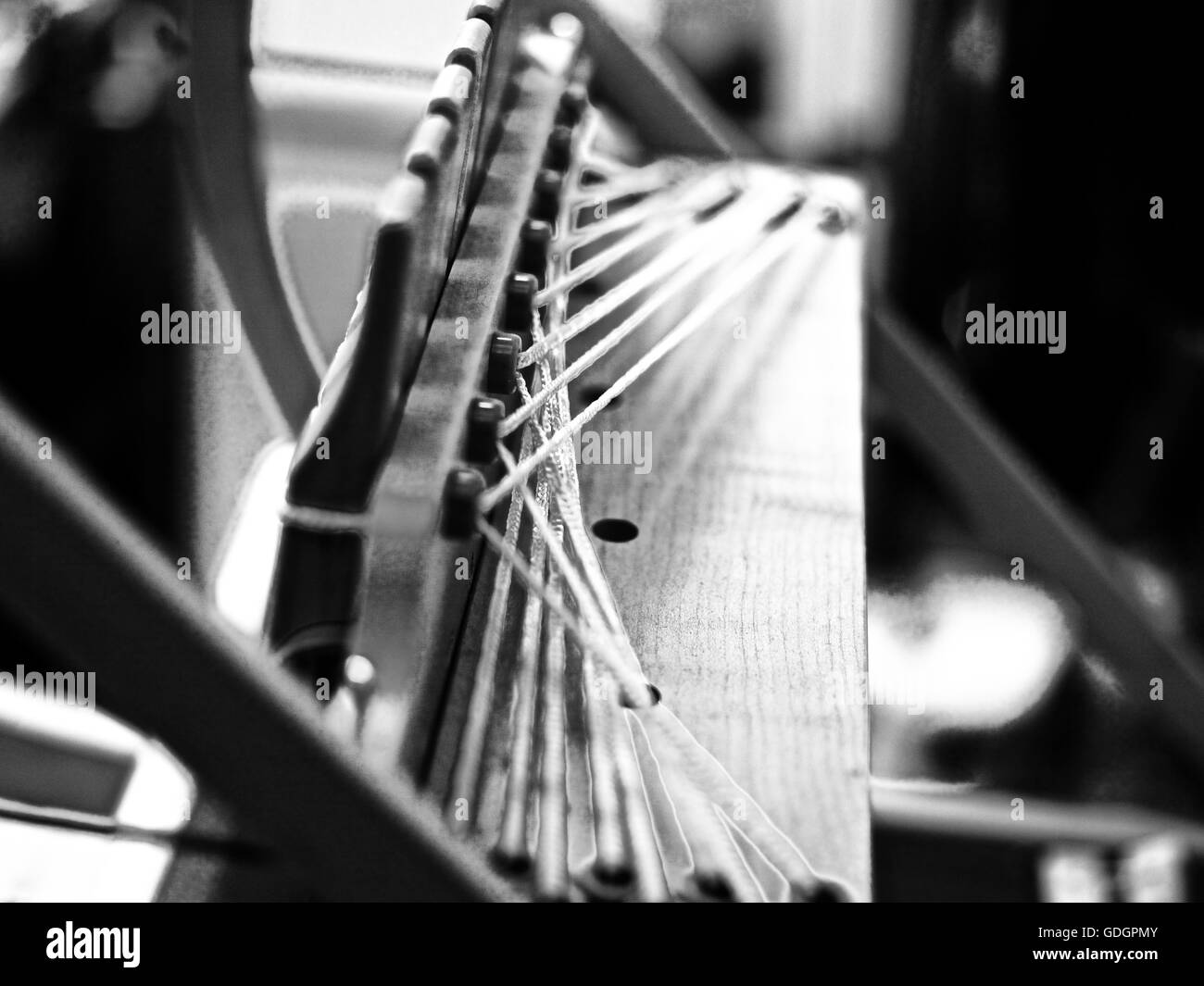 Weaving loom in an art studio London - Stock Image