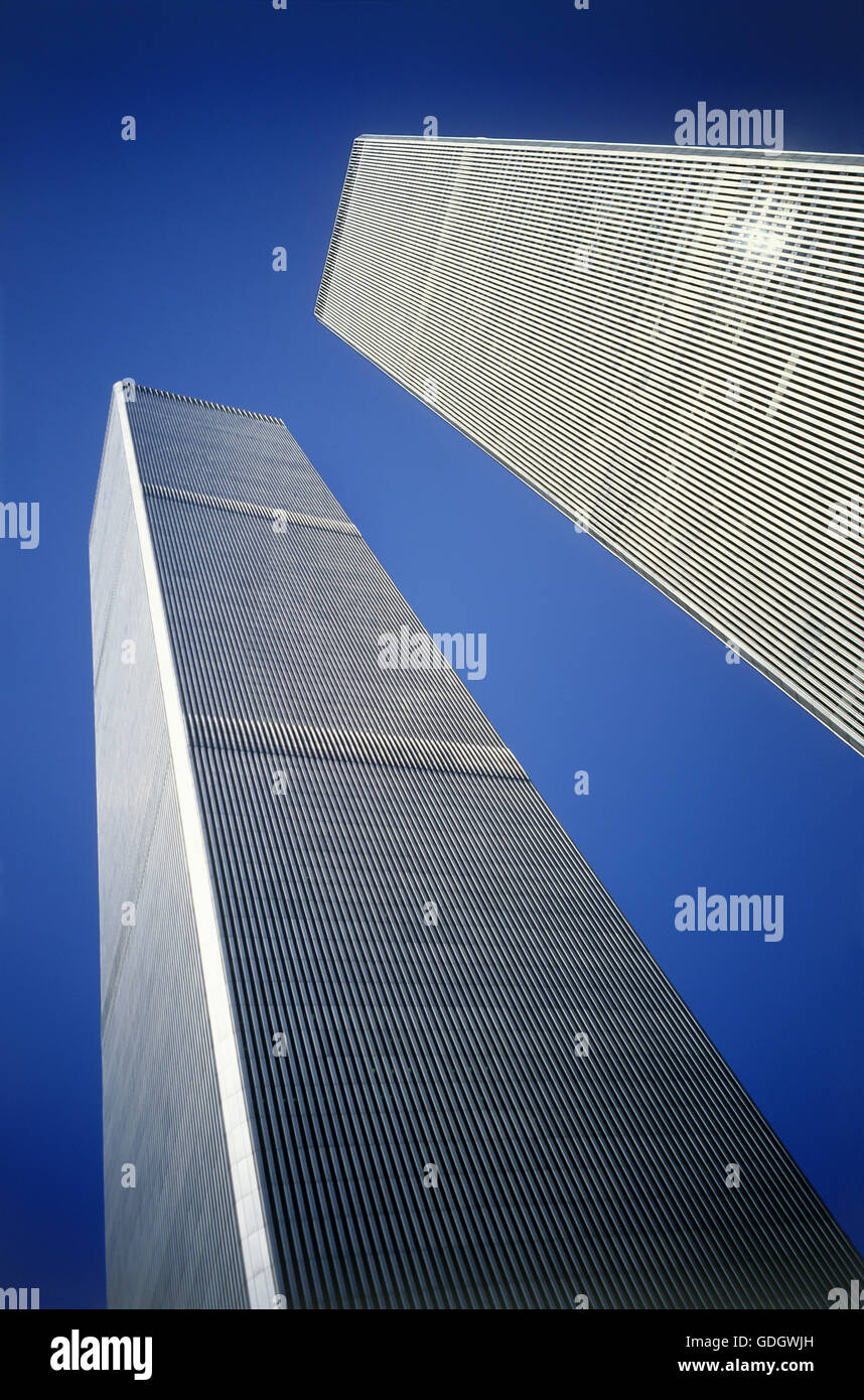 Twin Towers of the World Trade Center, Manhattan, New York, USA, looking up with extreme perspective - Stock Image