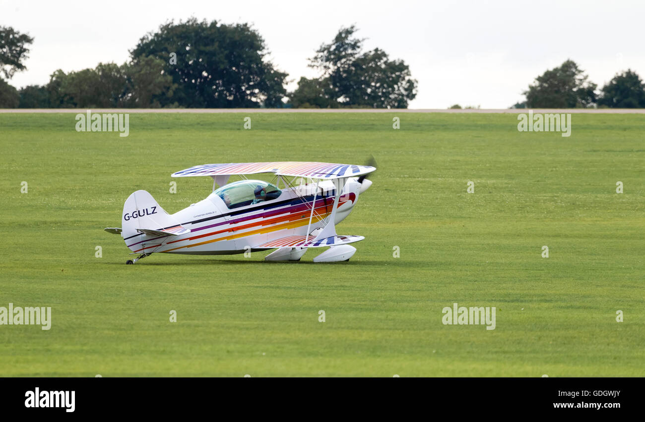 Christen Eagle 11 taxing out from Sywell airport for take off. - Stock Image