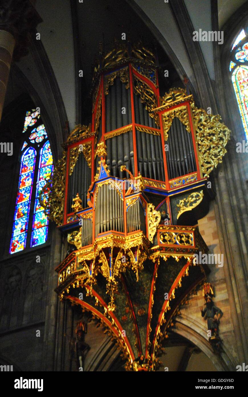 Organ in Strasbourg Cathedral Stock Photo