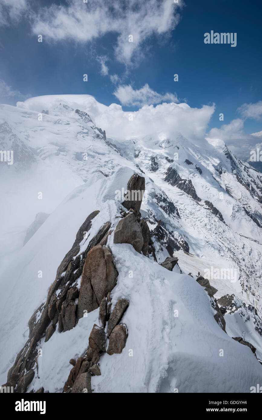 View of Mont Blanc massif from Aiguille du Midi Stock Photo