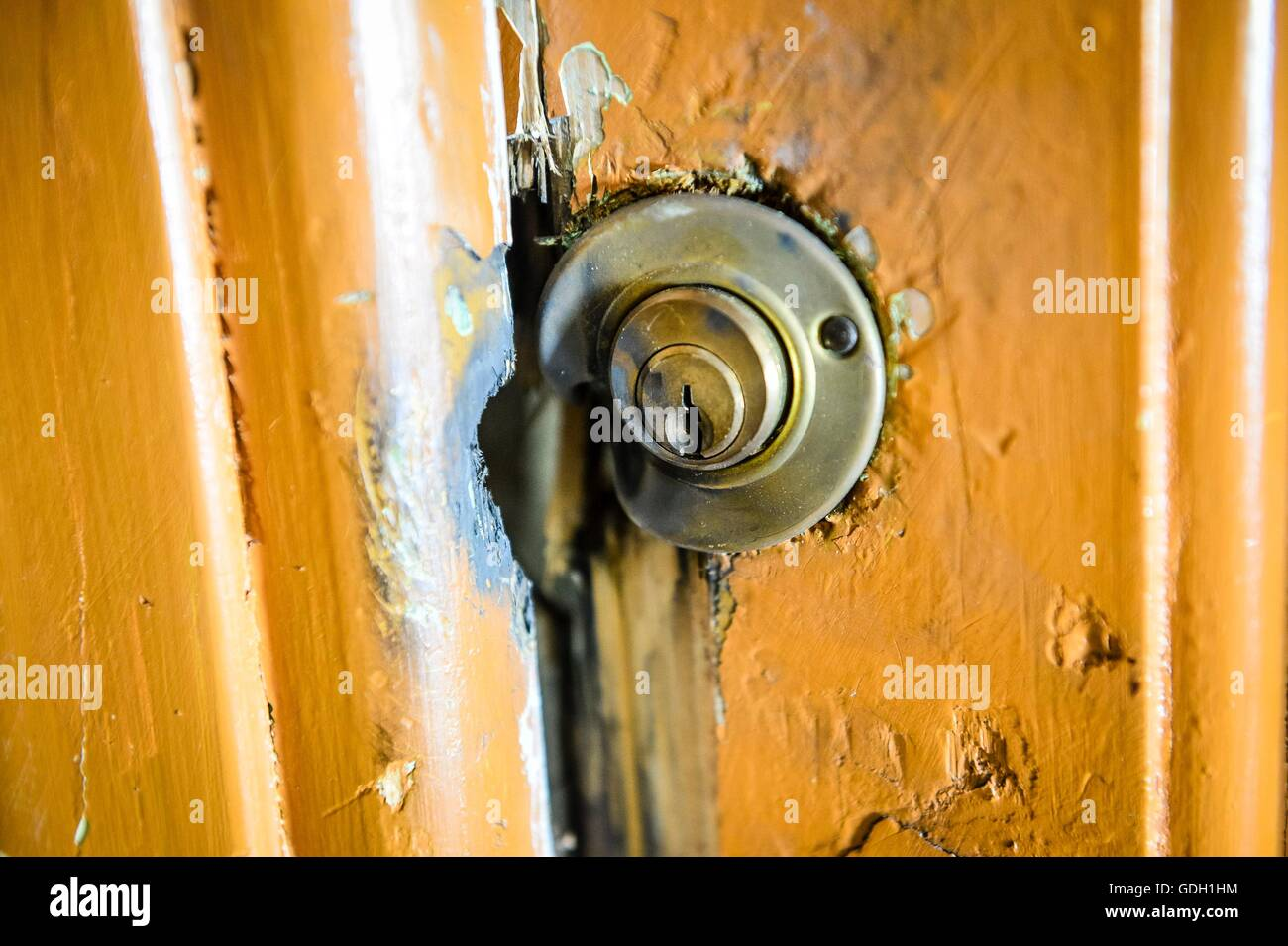 Detail Of The Broken Front Door Locks Of The Apartment Where Mohamed  Lahouaiej Bouhlel Lived At 62 Route De Turin, Nice.