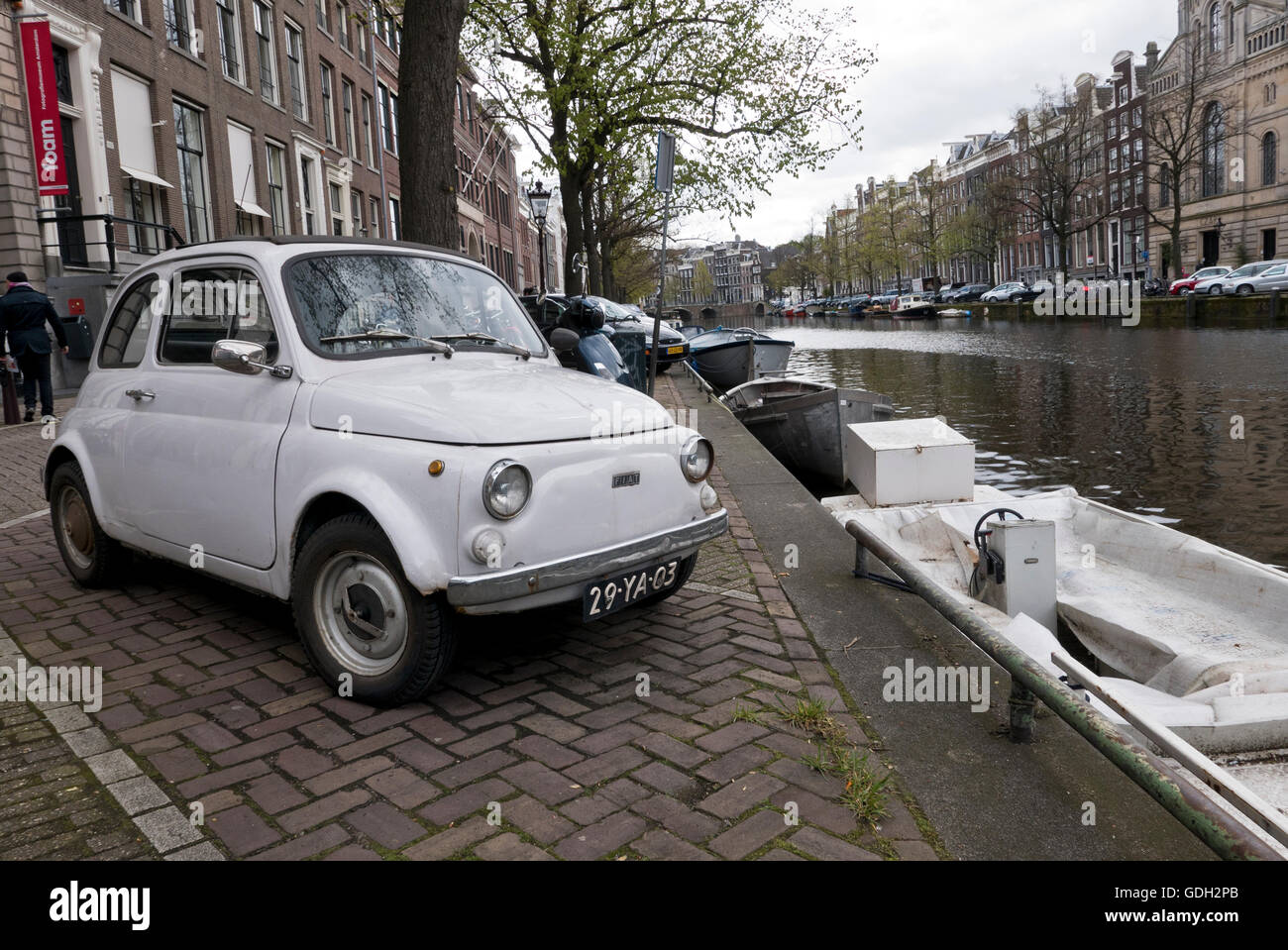 Small Fiat Car Parked Canal Stock Photos Small Fiat Car Parked