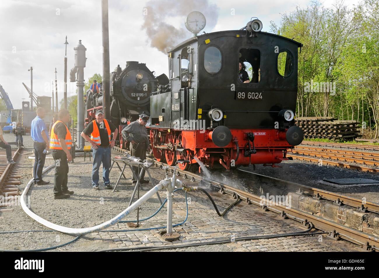 Steam locomotives at the German steam locomotive museum, Neuenmarkt, Franconia, Bavaria - Stock Image
