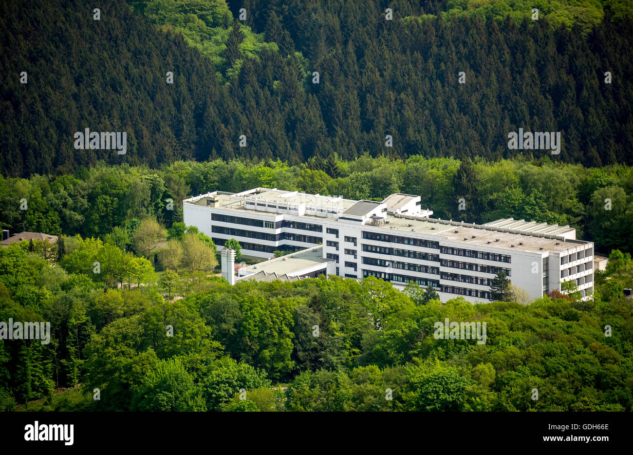 Clinic Königsfeld, Medical Rehabilitation Centre, Department of Cardiology and Orthopedics, aerial view, Ennepetal - Stock Image