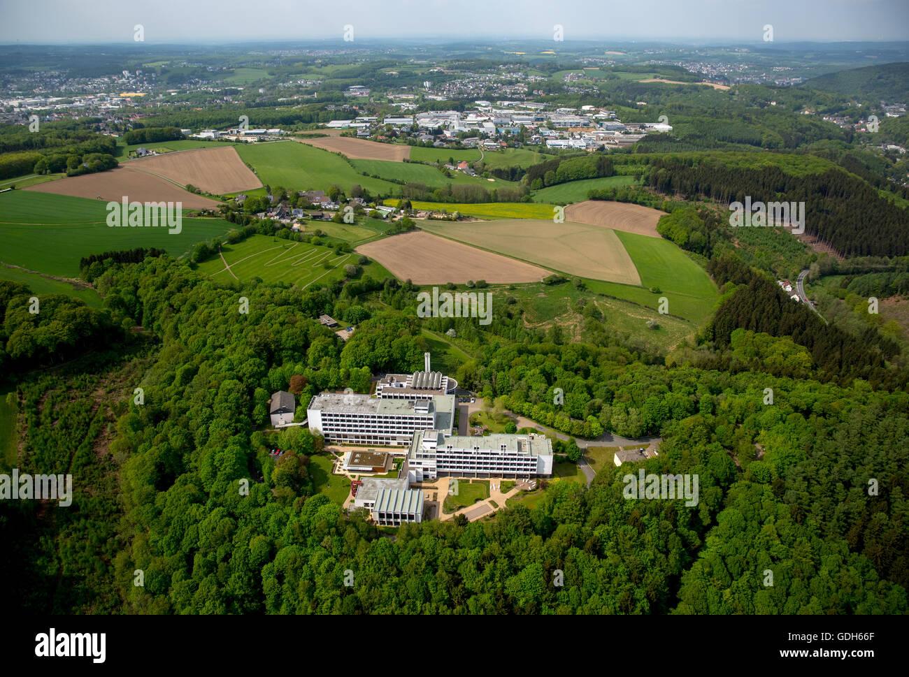 Clinic Königsfeld, Medical Rehabilitation Centre, Department of Cardiology and Orthopedics, aerial, Ennepetal, - Stock Image