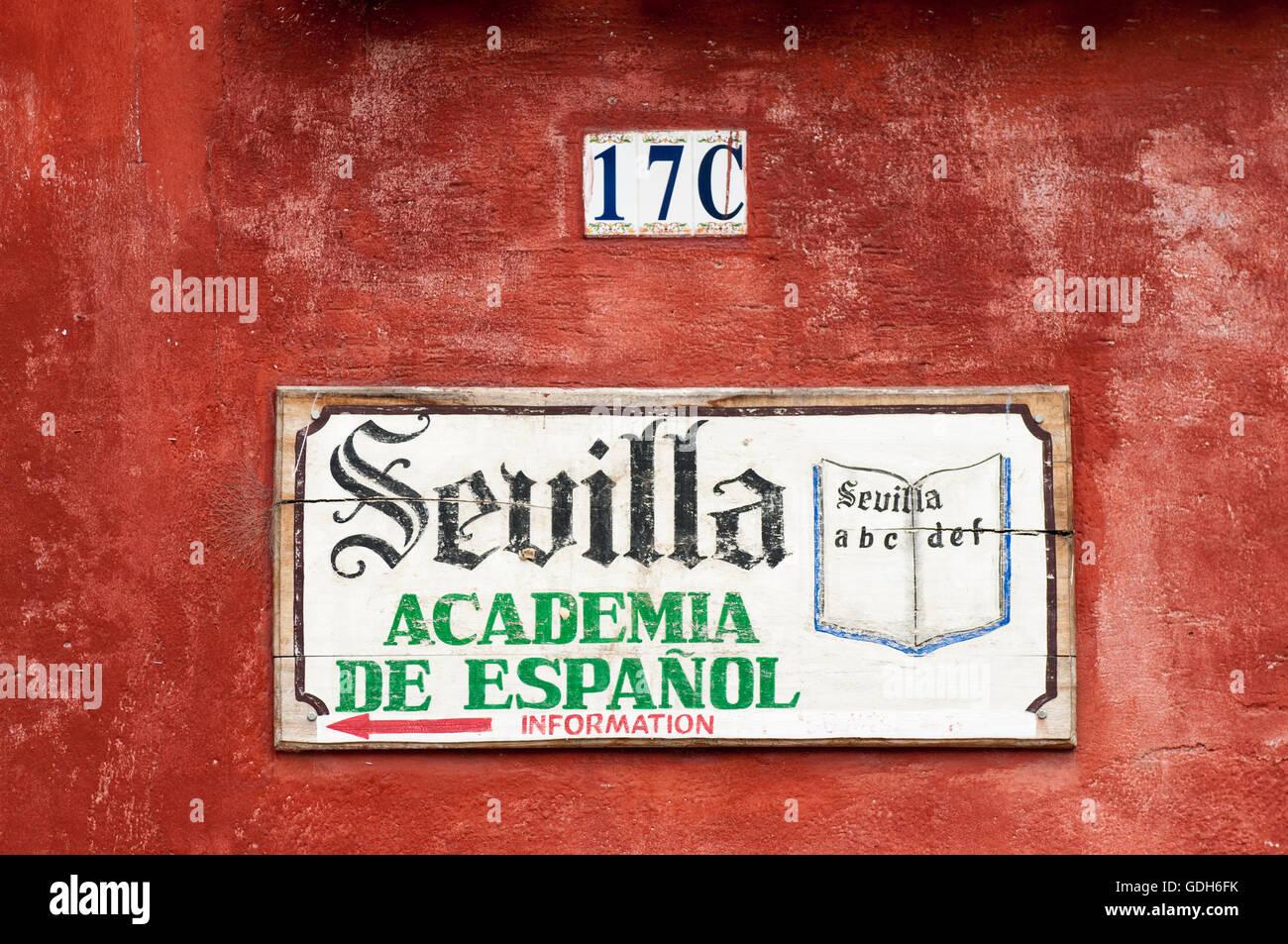 Sevilla Academia de Espanol, Spanish school sign, Antigua, Guatemala, Central America - Stock Image