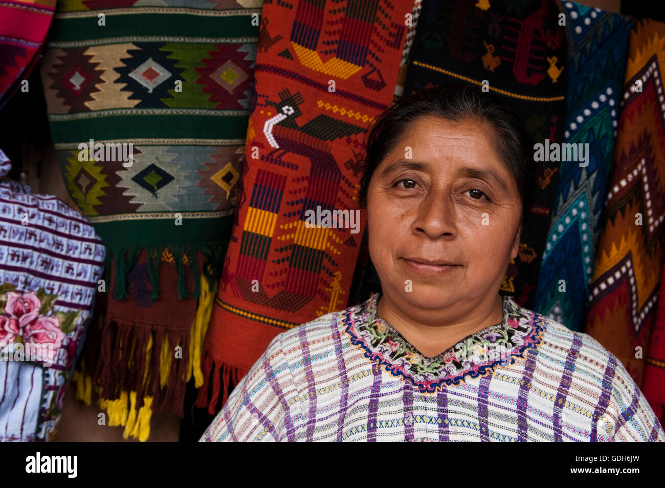 Woman, Santiago Atitlan, Lago de Atitlan, Guatemala, Central America Stock Photo