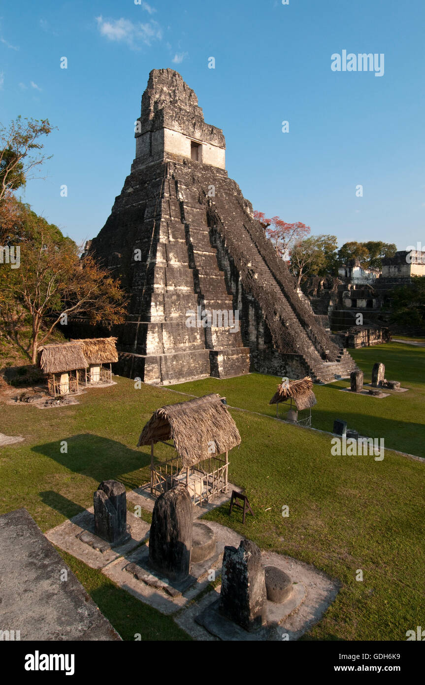 Temple I known also as temple of the Giant Jaguar, Tikal, archaeological site of the Maya civilization, Guatemala - Stock Image