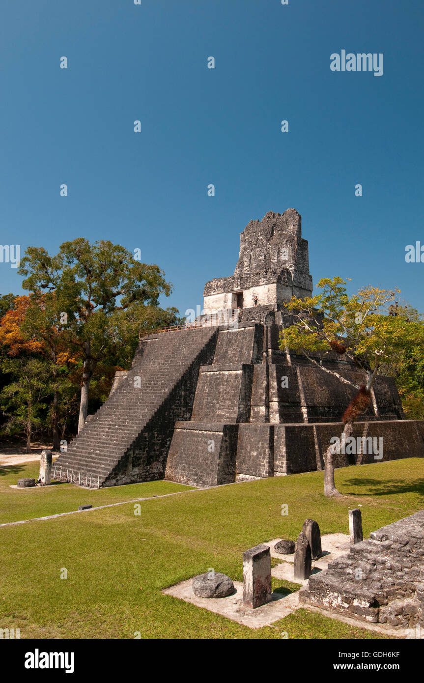 Temple II and Grand Plaza, Tikal, archaeological site of the Maya civilization, Guatemala, Central America - Stock Image
