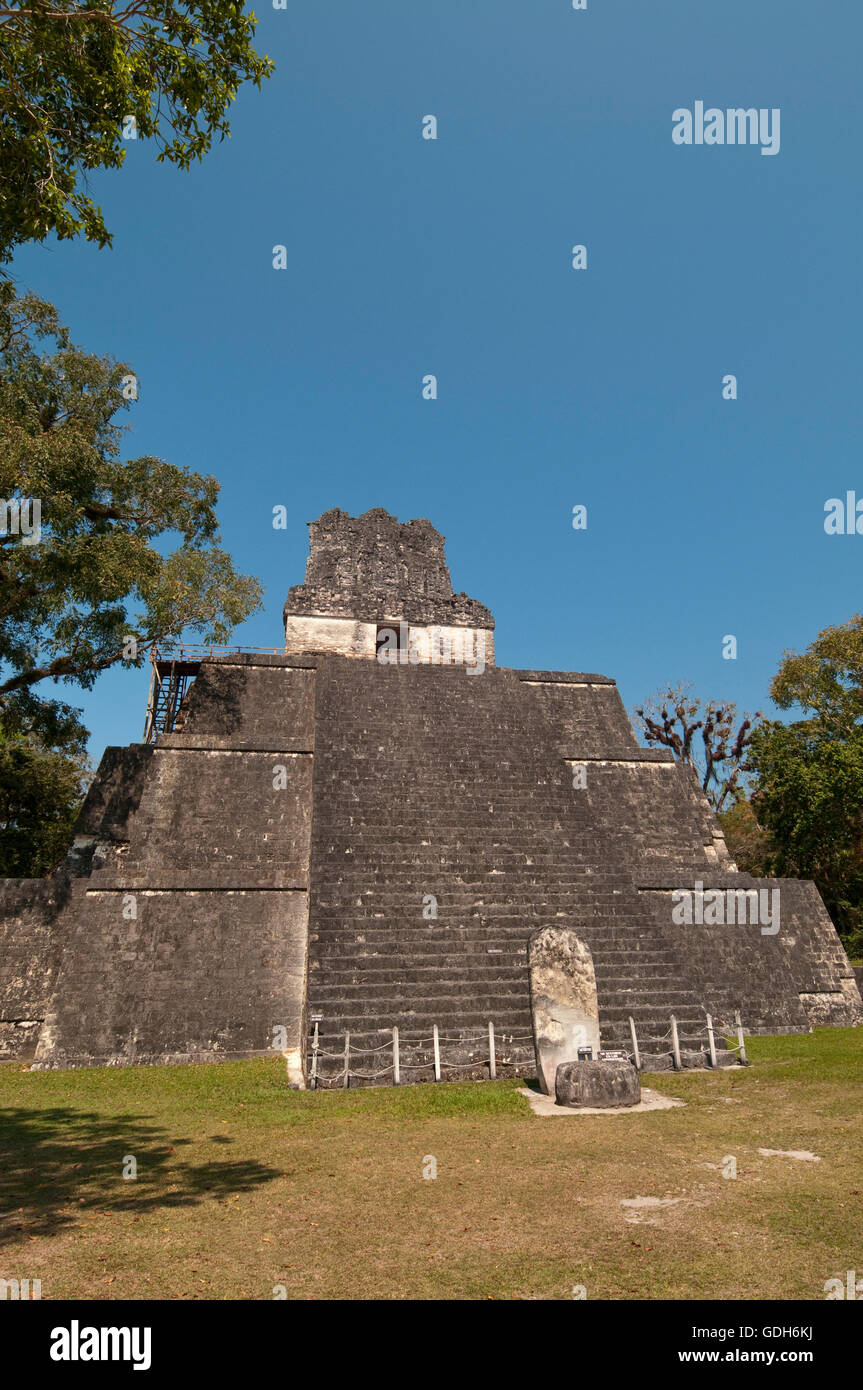 Temple II, Tikal, archaeological site of the Maya civilization, Guatemala, Central America - Stock Image