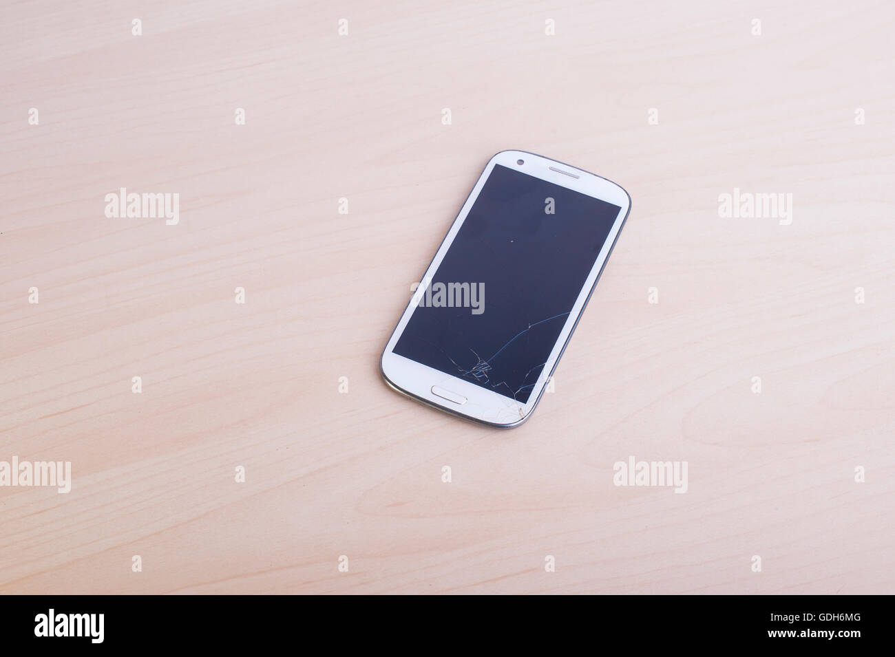 Broken mobile phone screen. Smartphone monitor damage. Cellphone crash and scratch. Telephone fail. Display glass - Stock Image