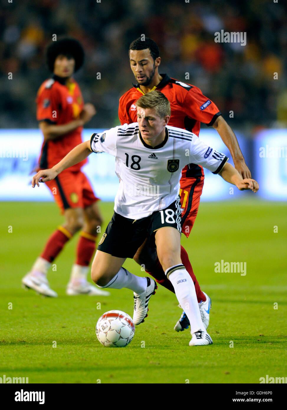 Toni Kroos, Moussa Dembélé, qualifier match for the UEFA European Football Championship 2012, Belgium - Stock Image