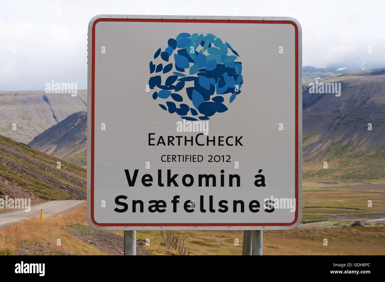 Iceland: welcome sign in the Snaefellsnes peninsula, a region named Iceland in MiniatureStock Photo