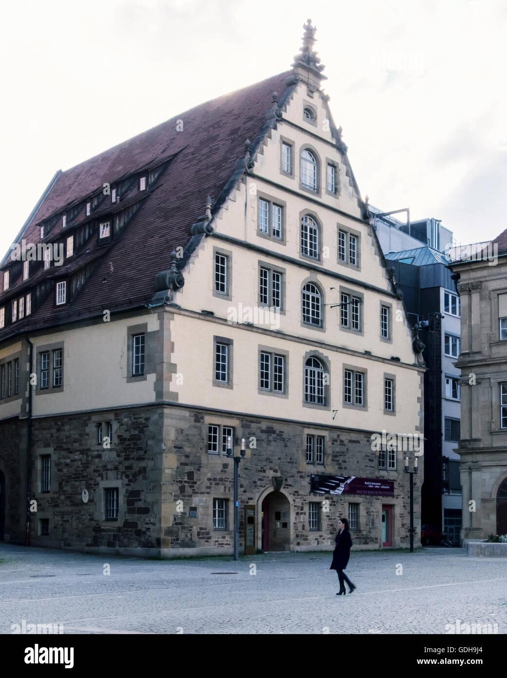 Historic old Fruchtkasten building reconstruction on Schillerplatz, Schiller Square, Stuttgart, Germany - Stock Image