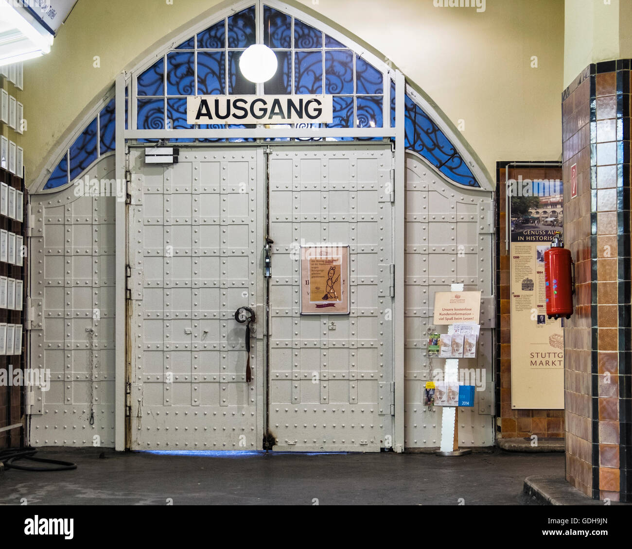 Stuttgart old market, markthalle building interior with arched exit door marked ausgang - Stock Image