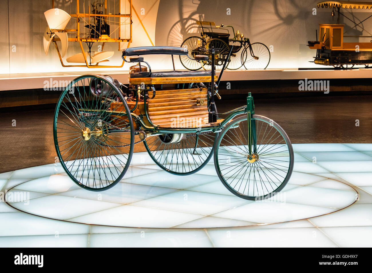 Mercedes-Benz Museum, Stuttgart, Germany. The Benz Motor Car No. 1 is a three-wheeled, gas-powered horseless carriage.1886 - Stock Image