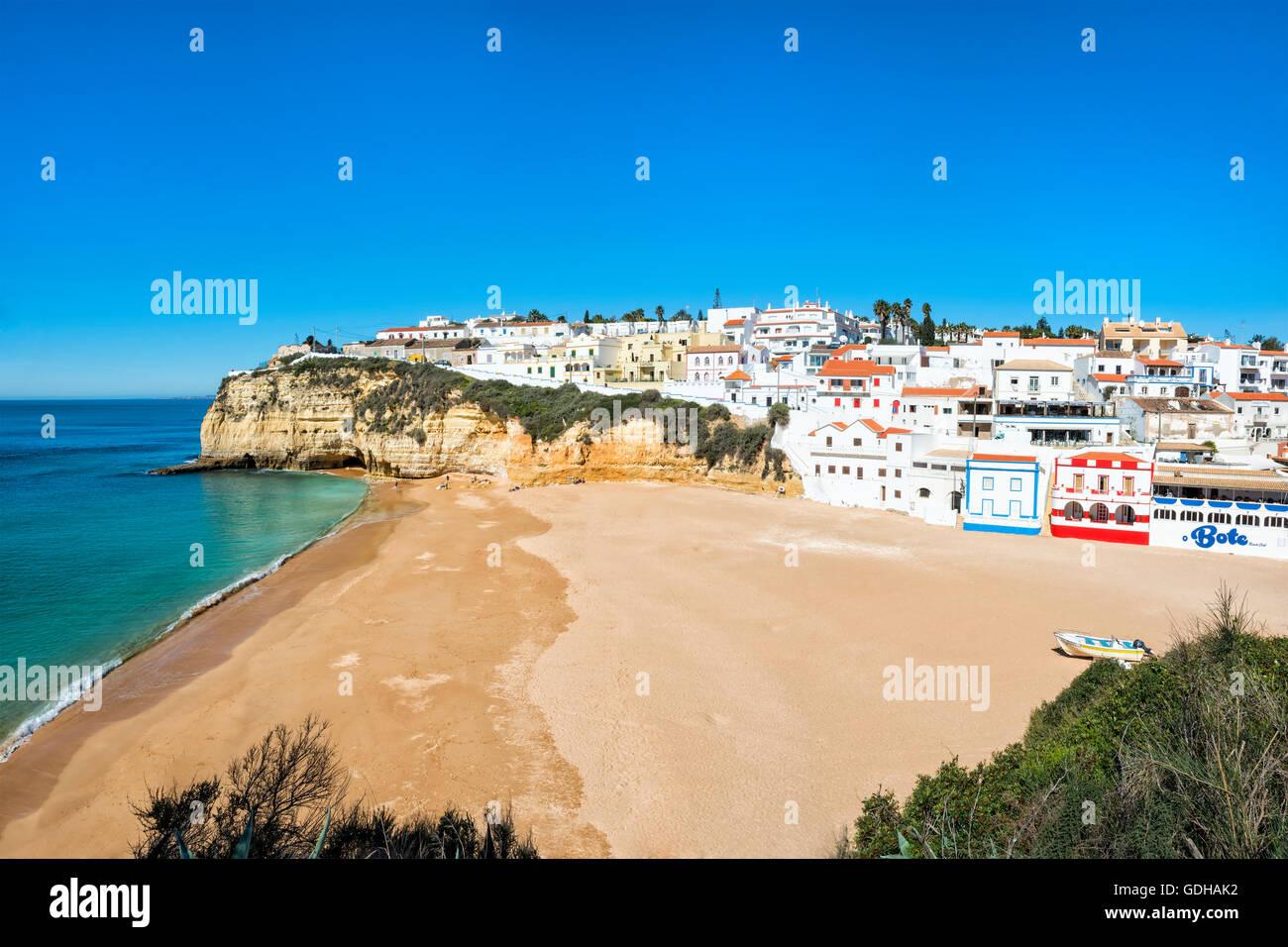 Carvoeiro and Beach, Algarve, Portugal Stock Photo