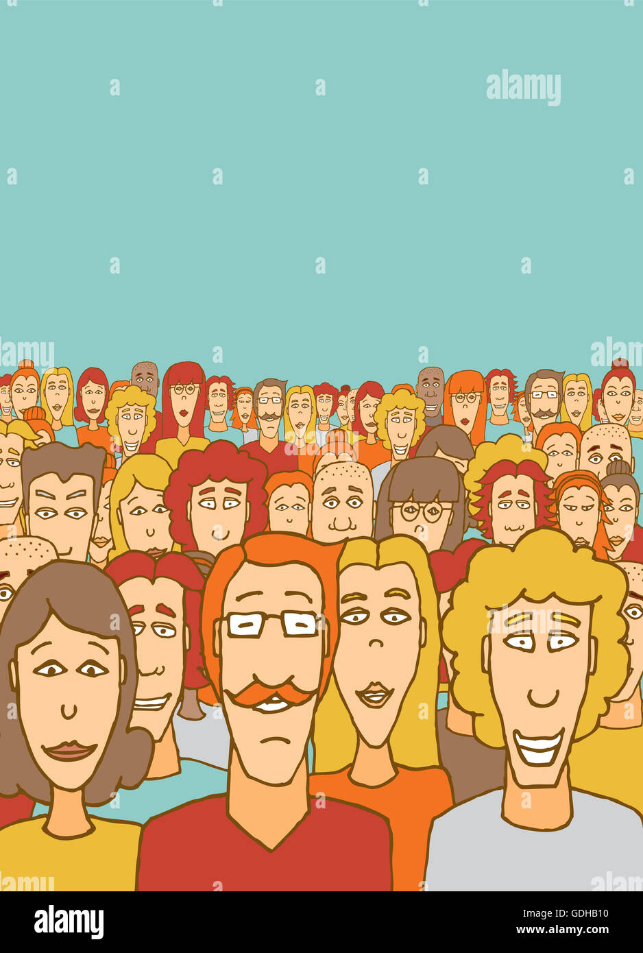 Cartoon illustration of a large crowd community - Stock Image