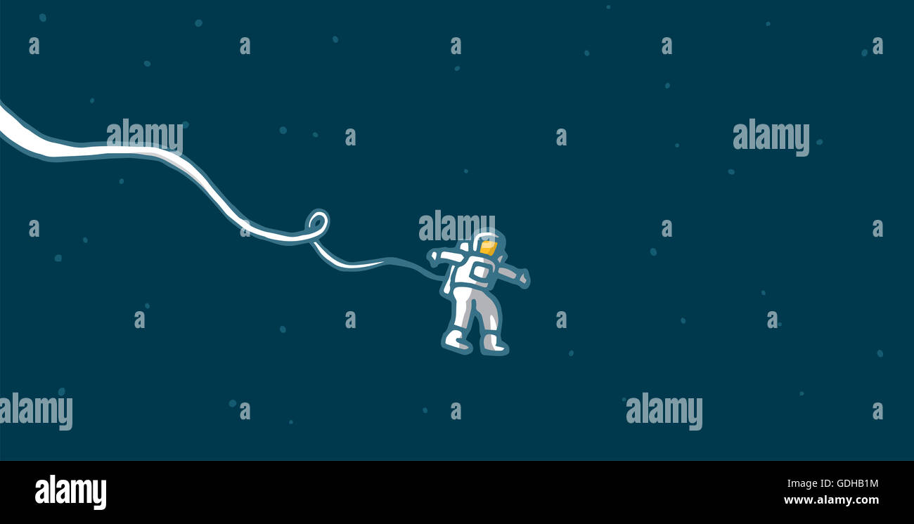 Cartoon illustration of a stranded astronaut floating alone in space