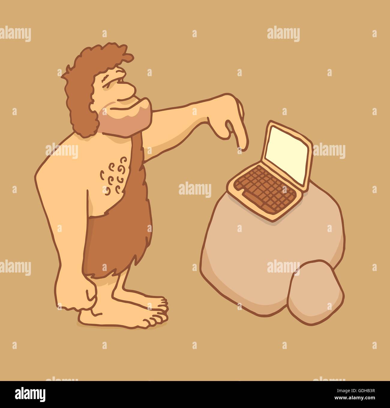 Cartoon illustration of a caveman touching a laptop keyboard - Stock Image