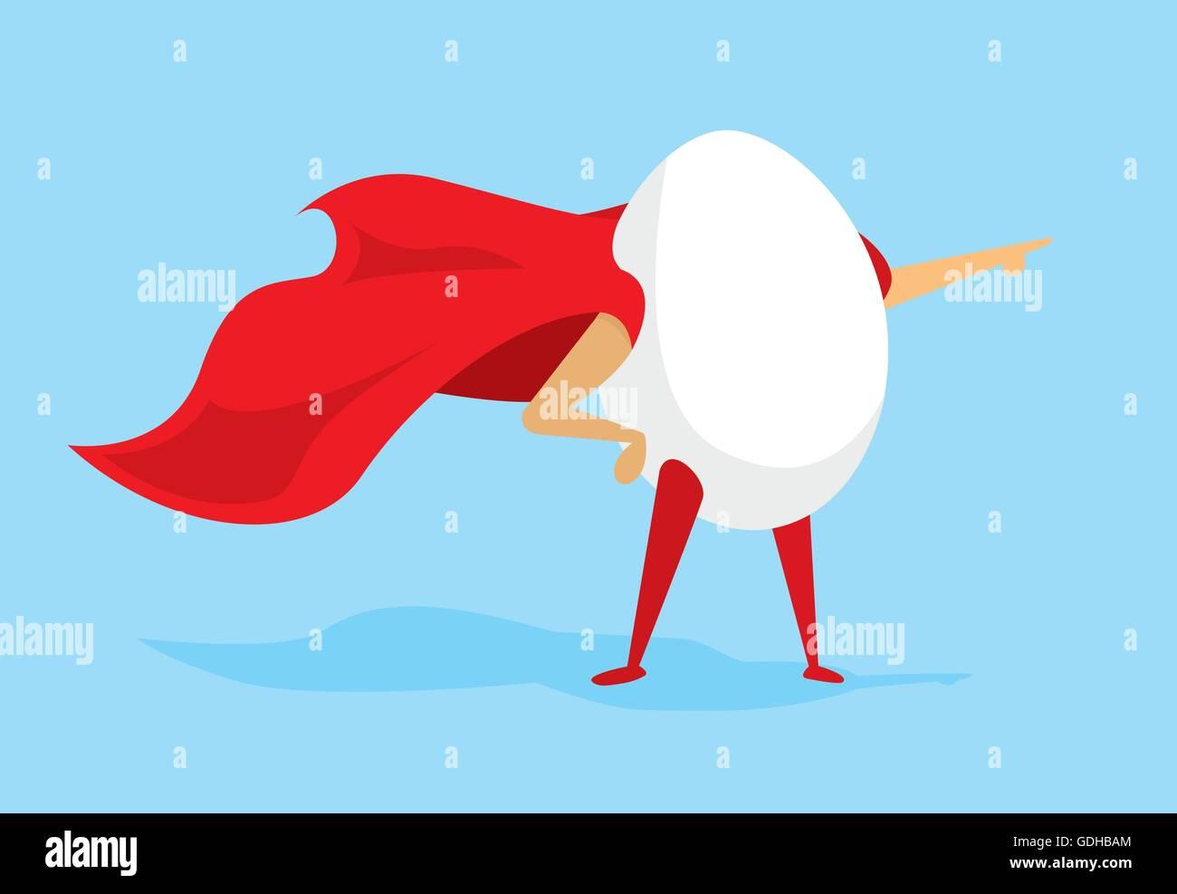 Cartoon illustration of egg super hero with cape - Stock Image