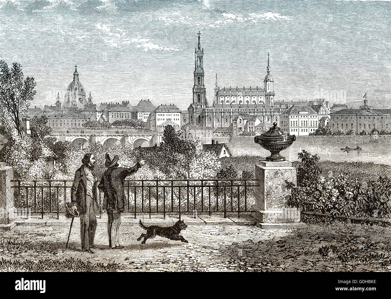 Historical cityscape of Dresden, 18th century, Saxony, Germany, Europe, Stock Photo